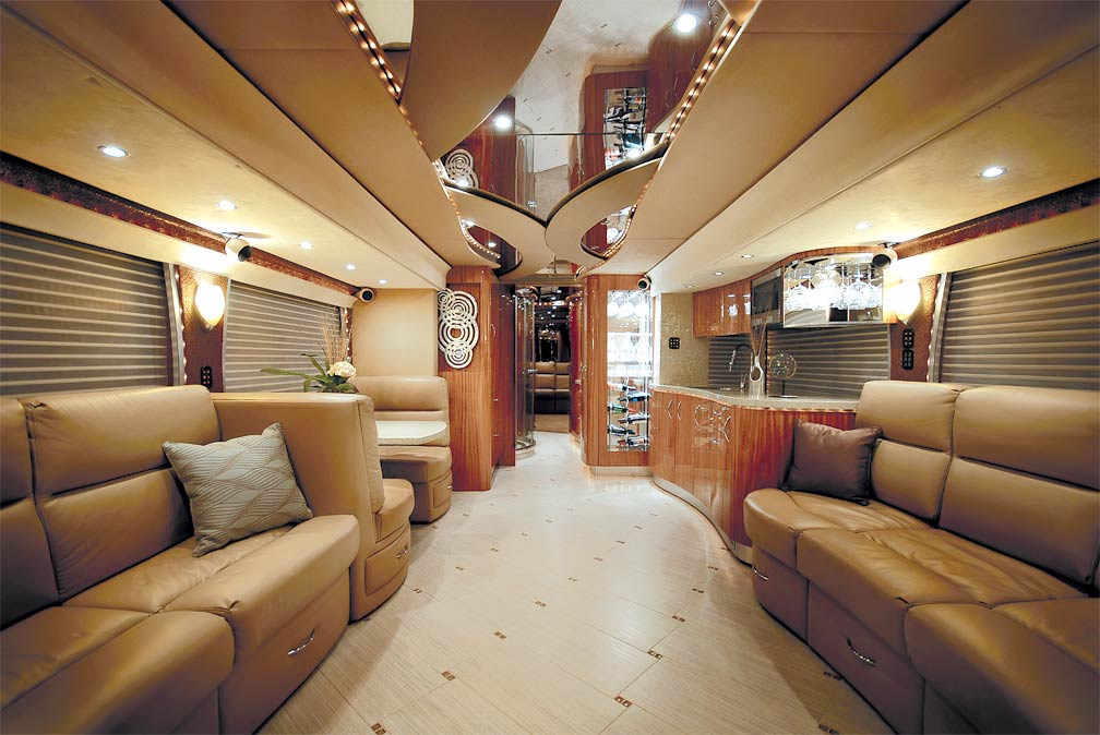 Image gallery luxury motor coaches interior Tour bus interior design